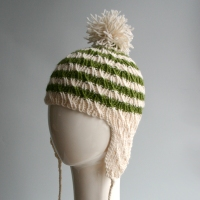 Green & Beige Striped