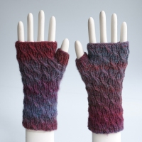 Ruby Cable Rib Fingerless Gloves