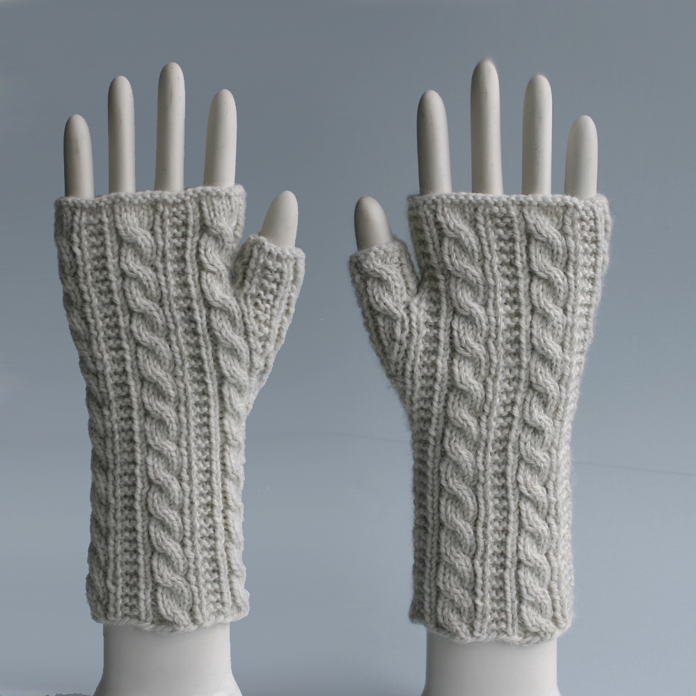 Natural Heather Cable Fingerless Gloves