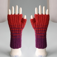 Orange and Purple Striped Gloves