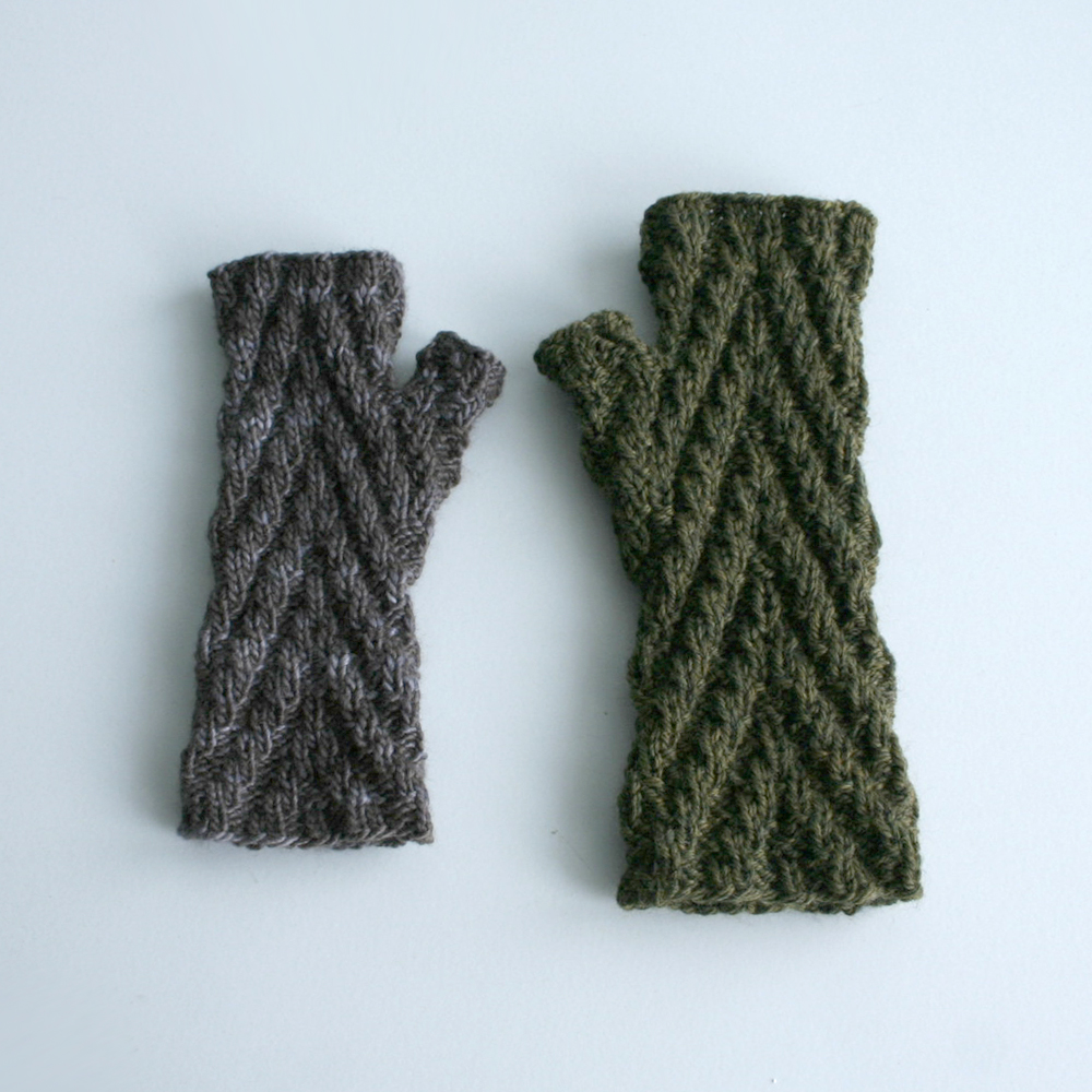 Knit Fingerless Gloves Pattern : Updated Knit Pattern: Herringbone Rib Fingerless Gloves ...