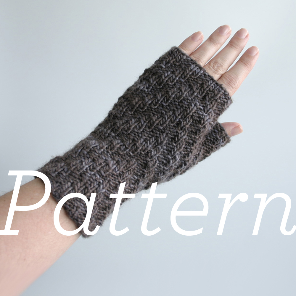 Fingerless Glove Pattern Knitting : Updated Knit Pattern: Herringbone Rib Fingerless Gloves Knits & Prints