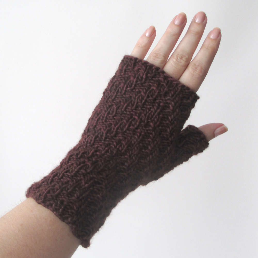 Fingerless Knit Gloves Pattern : Updated Knit Pattern: Herringbone Rib Fingerless Gloves Knits & Prints